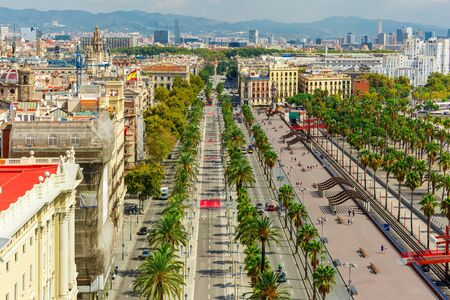 colom: Aerial view over Passeig de Colom or Columbus avenue  from Christopher Columbus monument  in Barcelona, Catalonia, Spain Stock Photo