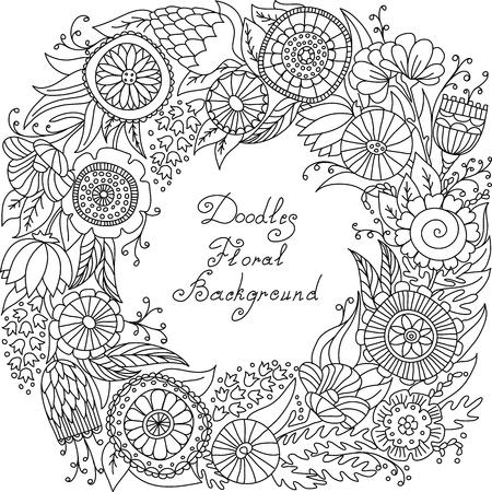 floral swirls: vector black and white floral frame pattern of spirals, swirls, doodles Illustration