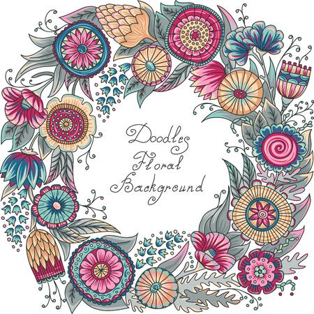vector color floral frame pattern of spirals, swirls, doodles