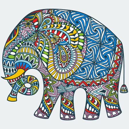 vector hand getekende kleur tattoo doodle met versierde Indische olifant Stock Illustratie