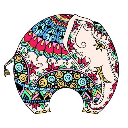 eleganz: Vektor handgezeichneten Farben Tattoo doodle mit verzierten indischen Elefanten Illustration