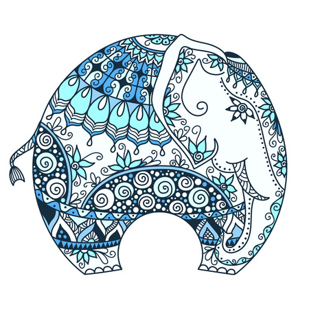 zentangle: vector hand-drawn blue tattoo doodle with decorated Indian Elephant