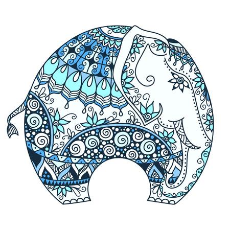 elefant: Vektor handgezeichnete blaue T�towierung doodle mit verzierten indischen Elefanten