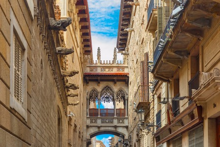 barcelone: Pont Carrer del Bisbe à Barcelone quartier gothique, Catalogne, Espagne