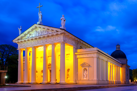 eventide: Cathedral Basilica of St Stanislaus and St Vladislav in the evening in Vilnius, Lithuania, Baltic states.