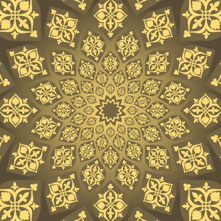 harmonic: Traditional Muslim vintage Geometric infinite pattern with harmonic growth Illustration