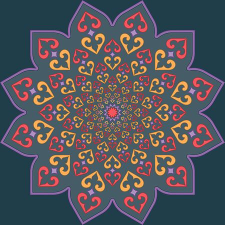 vintage colors: Traditional blue and red Muslim vintage Geometric infinite pattern in bright colors on the white background Illustration