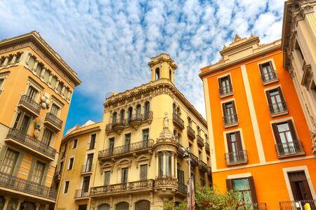 la boqueria: Placita de la Boqueria and Bruno Cuadros house with umbrellas in Barcelona, Catalonia, Spain