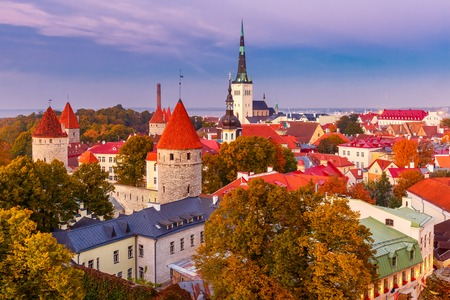 cityscape: Aerial cityscape with Medieval Old Town, St. Olaf Baptist Church and Tallinn City Wall illuminated in autumn twilight, Tallinn, Estonia Stock Photo