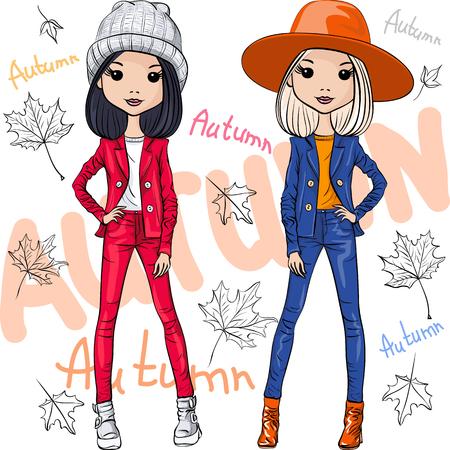 niña: Conjunto de vectores hermosas chicas inconformista moda top modelos en ropa de otoño, sombreros y botas, chaqueta y pantalones vaqueros