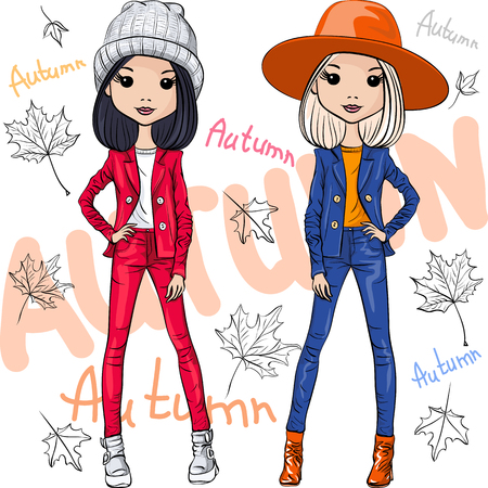 warm clothes: Vector set beautiful fashion hipster girls top models in autumn clothes, hats and boots, jacket and jeans