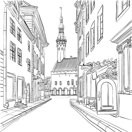 medievales: Vista pintoresca del Ayuntamiento en el casco antiguo medieval, Tallin, Estonia
