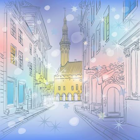 town: Picturesque winter view of Christmas Town Hall in Medieval Old Town, Tallinn, Estonia