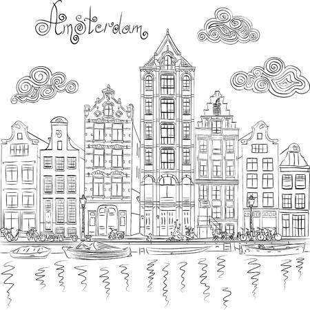 dessin noir et blanc: Dessin à la main en noir et blanc, vue sur la ville d'Amsterdam canal et ses maisons typiques, Hollande, Pays-Bas.