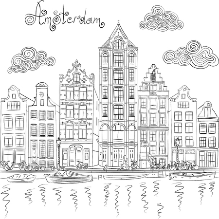 Black and white hand drawing, city view of Amsterdam canal and typical houses, Holland, Netherlands.