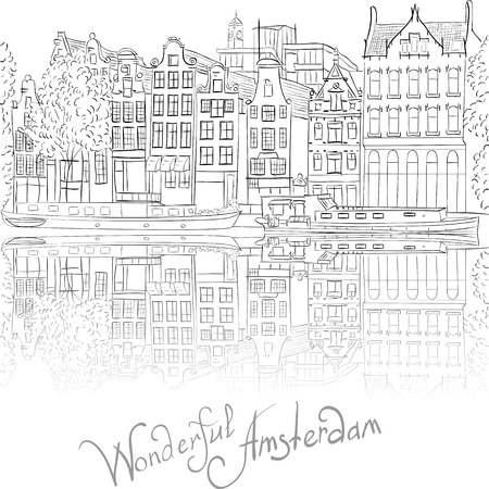 dutch landmark: Black and white hand drawing, city view of Amsterdam canal and typical houses, Holland, Netherlands.