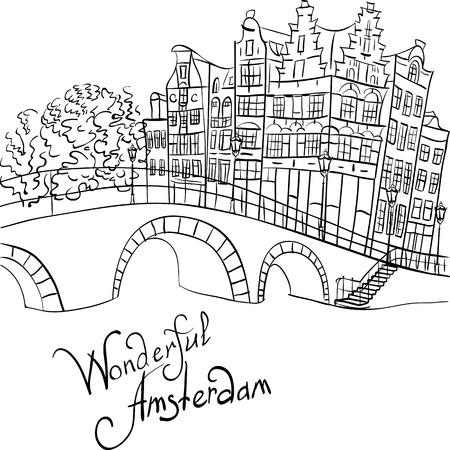 Dibujo a mano en blanco y negro, vista a la ciudad de los canales de Ámsterdam, el puente y casas típicas, Holanda, Países Bajos. Foto de archivo - 47968409