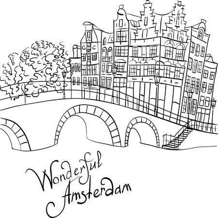 Black and white hand drawing, city view of Amsterdam canal, bridge and typical houses, Holland, Netherlands.