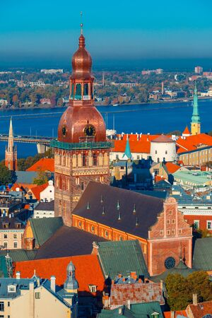 riga: Aerial view of Old Town and River Daugava from Saint Peter church, with Riga Cathedral and Riga castle, Riga, Latvia