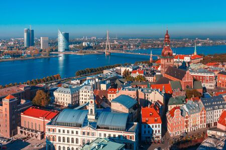 towns: Aerial view of Old Town and River Daugava from Saint Peter church, with Riga Cathedral, Cathedral Basilica of Saint James and Riga castle, Riga, Latvia