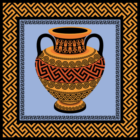 amphora: Vector frame with Traditional vintage golden square Greek ornament Meander and amphora with patterns of gold and black
