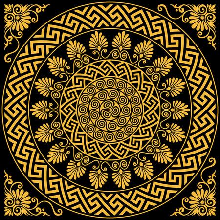 검은 배경에 전통적인 빈티지 골든 라운드 그리스어 장식 앤더와 꽃 패턴을 설정