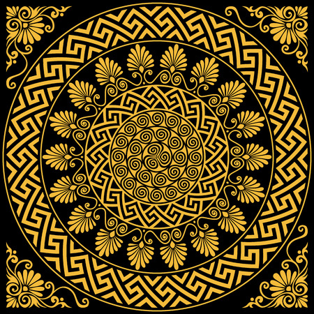 set Traditional vintage golden round Greek ornament Meander and floral pattern on a black background