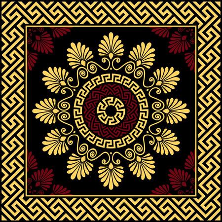 meander: set Traditional vintage golden round Greek ornament Meander and floral pattern on a black background