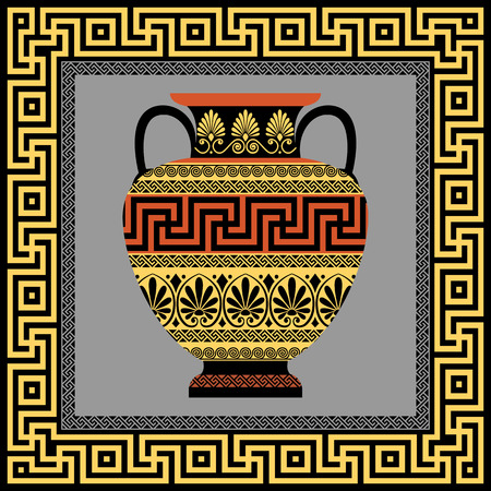 grecian: Vector frame with Traditional vintage golden square Greek ornament Meander and amphora with patterns of gold and black