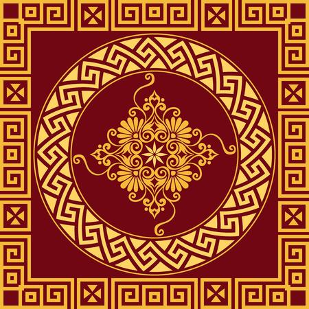 meander: set Traditional vintage golden round Greek ornament Meander and floral pattern on a red background