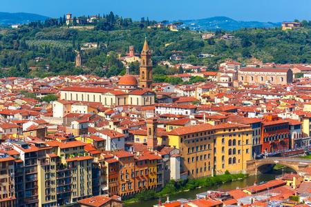 giardino: View of river Arno, Oltrarno, Giardino Torrigiani, bridge and church Santo Spirito at morning from Palazzo Vecchio in Florence, Tuscany, Italy Stock Photo