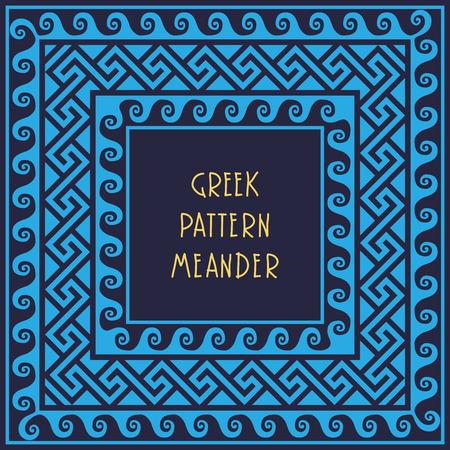 meander: Frame with Traditional vintage blue square Greek ornament Meander