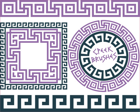 grecian: Set 5 of brushes to create the Greek Meander patterns and samples of their application for round and square frames. Brushes included in the file.