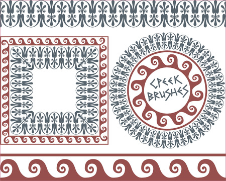 greek: Set 4 of brushes to create the Greek Meander patterns and samples of their application for round and square frames. Brushes included in the file.