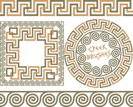 grecian: Set 3 of brushes to create the Greek Meander patterns and samples of their application for round and square frames. Brushes included in the file. Illustration