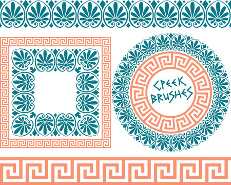 Set 1 of brushes to create the Greek Meander patterns and samples of their application for round and square frames. Brushes included in the file.