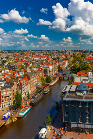 frank: Canal Prinsengracht and Anne Frank House of Amsterdam. City view from the bell tower of the church Westerkerk, Holland, Netherlands.