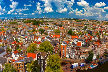 westerkerk: Roofs and facades of Amsterdam. City view from the bell tower of the church Westerkerk, Holland, Netherlands. Stock Photo