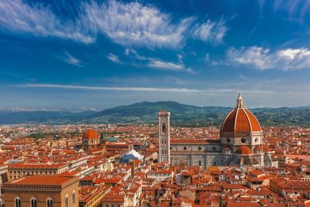 fiore: Duomo Santa Maria Del Fiore and Medici Chapel at morning from Palazzo Vecchio in Florence, Tuscany, Italy
