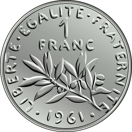legend: Obverse French coin one franc with nominal and image of olive branch with leaves and circular legend Liberty, Equality, Fraternity