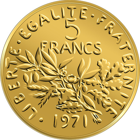 legend: Obverse French coin five francs with nominal and image of olive branch with leaves and circular legend Liberty, Equality, Fraternity Illustration
