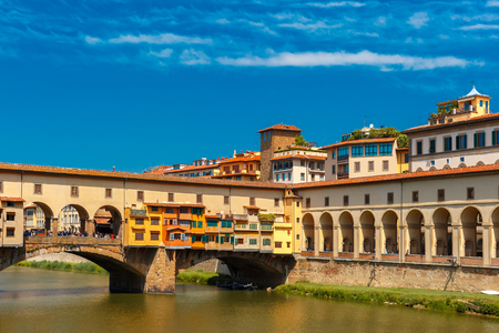 river arno: Bridge Ponte Vecchio across River Arno in the sunny summer day, Florence, Tuscany, Italy