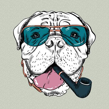 bullmastiff: hipster dog Bullmastiff breed in  blue glassess with a pipe Illustration