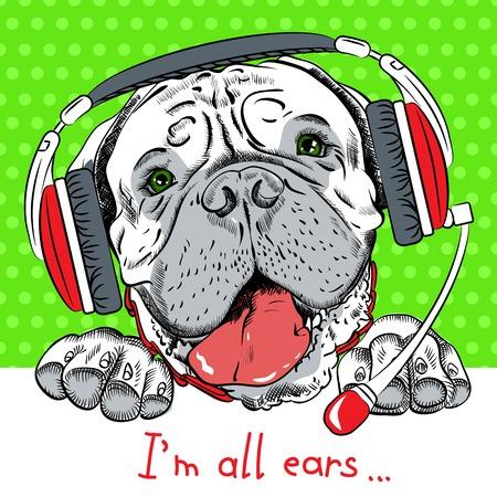 telefono caricatura: Cartel con perro inconformista Bullmastiff raza como servicio al cliente, el operador del centro de atenci�n telef�nica con los auriculares del tel�fono