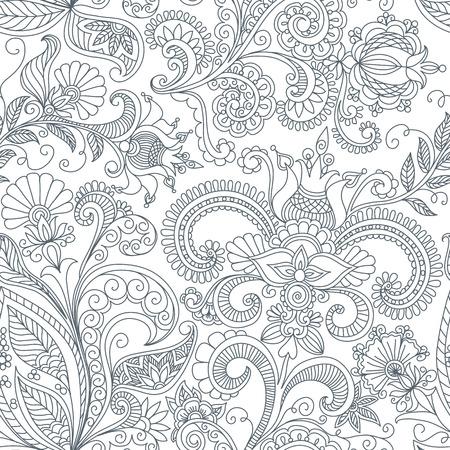 vector naadloze zwarte en witte bloemen patroon van de spiralen, wervelingen, krabbels Stock Illustratie