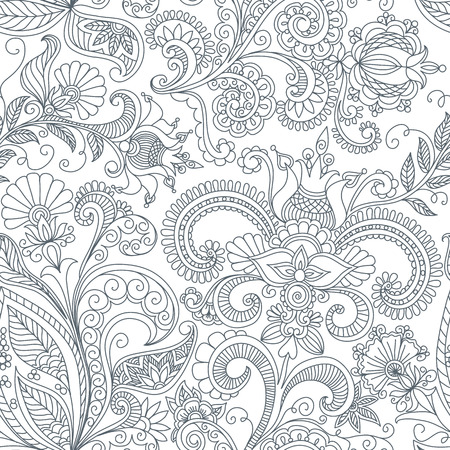 floral swirls: vector seamless black and white floral pattern of spirals, swirls, doodles