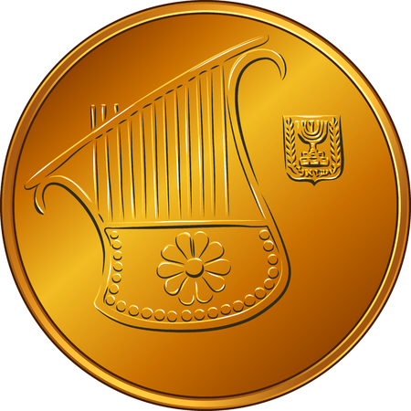 Obverse Gold Israeli money half-shekel coin or fifty agorot with the image of a harp, coat of arms of Israel