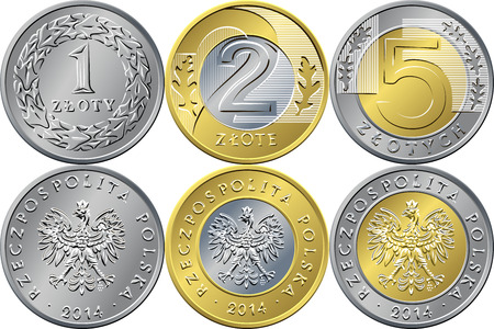 currencies: vector reverse and obverse Polish Money one, two and five zloty gold and silver coins with Value and eagle in golden crown