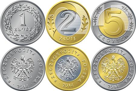 Vektor-Reverse und Avers Polish Money eins, zwei und fünf Zloty Gold- und Silbermünzen mit Wert und Adler in der goldenen Krone Standard-Bild - 49202055