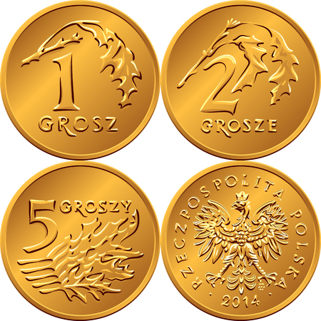 an obverse: vector reverse and obverse Polish Money one, two and five Groszy copper coins with Value and leaves